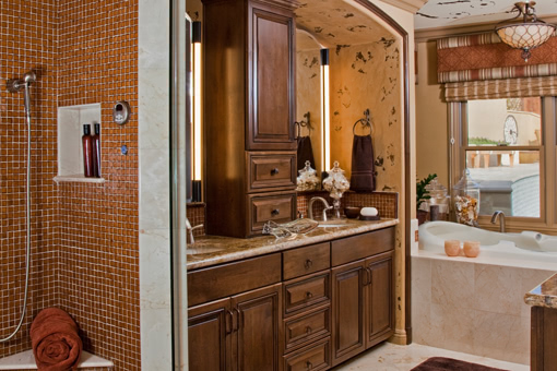 Bathroom Cabinets with Alder Wood Brown Stain Raised Panel Doors Crown Molding