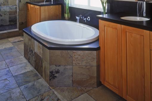 Custom Alder Bathroom Cabinets Raised Panel Doors