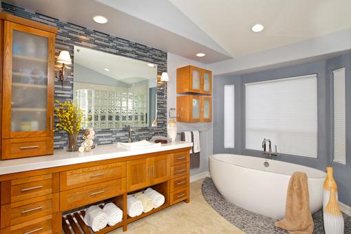 Cherry Bathroom Cabinets Towel Cubbies with Slat Bottoms Frosted Glass Doors Vessel Sink Shaker Doors