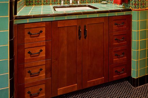 Bathroom Cherry Cabinets with Shaker Doors Full Overlay