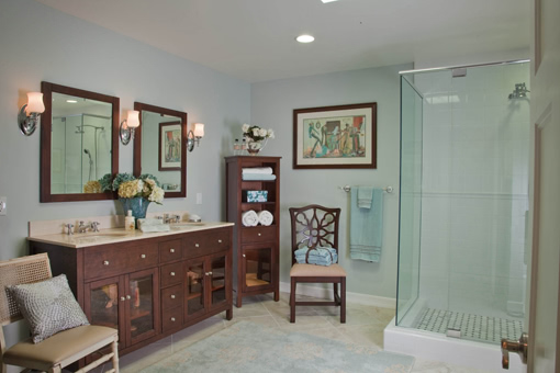 """Craftsman Style Bathroom Cabinets 2"""" Square Legs Flush Inset Free Standing Linen Cabinet Glass Doors On Sink Cabinets"""