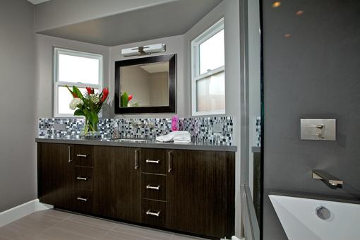 Bathroom Cabinets with Echo Wood Gun Metal Ebony Bookmatched Flat Doors Drawer Under Sink