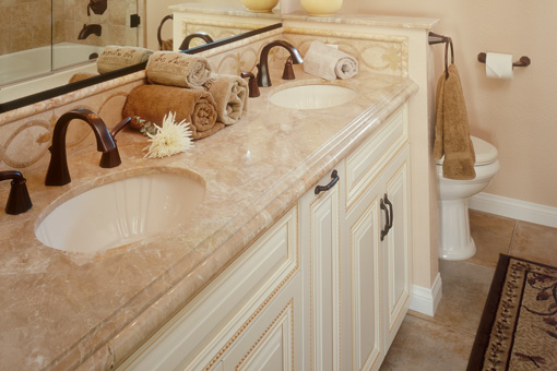 Full Overlay Bathroom Cabinets Painted with Glaze Rope Molding on Doors