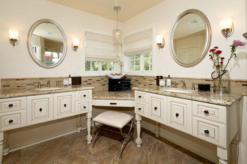 Bathroom Furniture Style Cabinets with White Paint with Glaze Vanity Island Post Legs