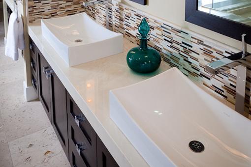 Bathroom Cabinets with Dark Java Espresso Stain Shaker Doors Vessel Sink