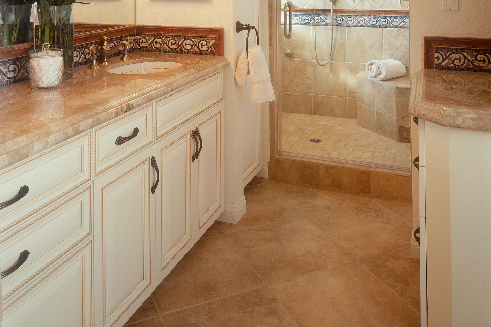 Custom bathroom cabinets curved face sinks two level vessel sinks full overlay bathroom cabinets painted with glaze rope molding on doors dailygadgetfo Gallery