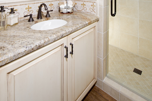 Bathroom Cabinets with White Paint with Glaze Raised Panel Doors Full Overlay