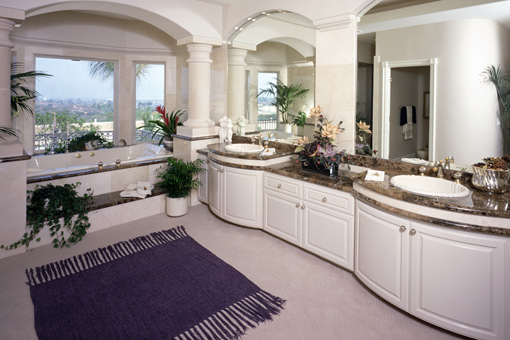 White Painted Bathroom Cabinets Curved Face Sinks Two Level