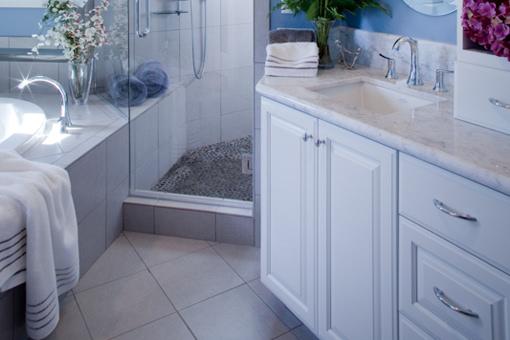 White Painted Bathroom Cabinets Raised Panel Doors Upper Tower