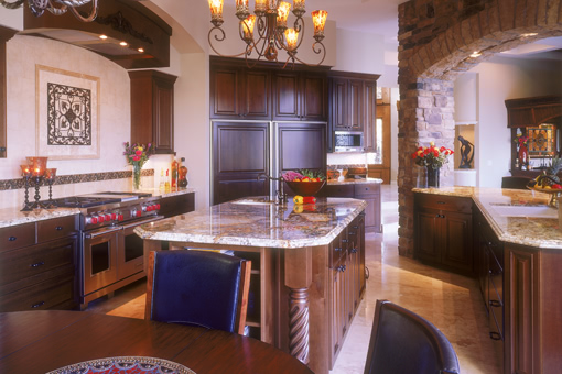 Kitchen Cabinets with Alder Wood Raised Panels and Island Post