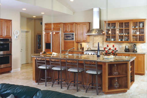 Kitchen Cabinets with Alder Wood Appliance Panels Raised Panel Doors Glass Doors Angled Island
