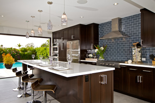 Kitchen Cabinets with Alder Wood Dark Java Espresso Stain Shaker Doors Flat Crown Molding