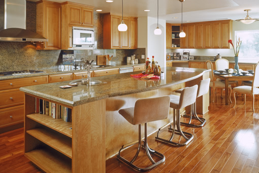 Custom Kitchen Cabinets with Alder Wood Raised Panels and Full Overlay