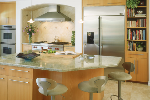 Contemporary Kitchen Cabinets with Alder Wood Clear Finish and Bookmatched Doors