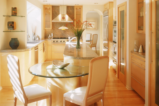 Contemporary Kitchen Cabinets in Maple with Radius End Lower Island Seating