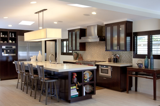 Contemporary Kitchen Cabinets with Java Stain Shaker Glass Door on Upper Bookmatched Doors on Lower Island with Open Cubbies Built-in Refrigerator