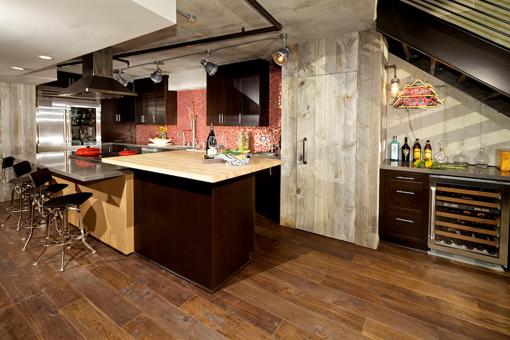 Kitchen Cabinets Dark Stain Two-tiered Metro Island Shaker Doors Butcher Block Countertop