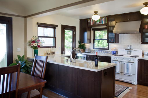 Kitchen Cabinets Peninsula Dark Stain Shaker and Glass Doors Crown Molding