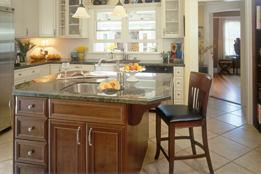 Kitchen Cabinets Stained Island Painted Cabinets Mitered Frame Recessed Panel Doors Glass Doors Crown Molding