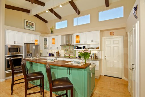 Kitchen Cabinets Painted White Green High Back Two-tiered Island Solid Wood Countertop Revered Doors Soffit