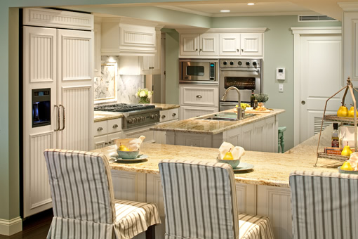 Custom Kitchen Cabinets White Painted Beadboard Doors