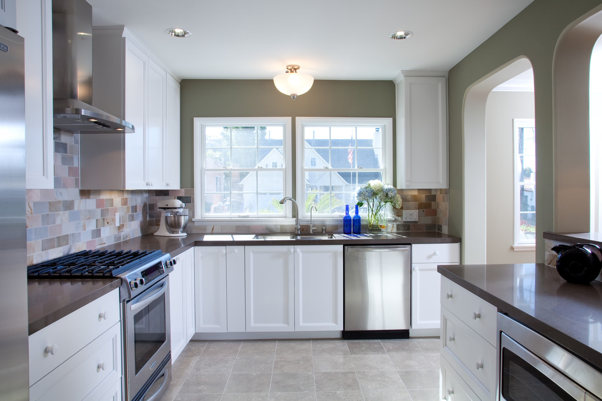 Custom Contemporary Kitchen Cabinets - Alder Wood Java Finish Shaker