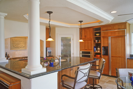Kitchen Pecan Cabinets Doors with Groove Appliance Panels Crown Molding