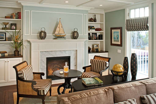 Custom Wall Units in Living Room Fireplace